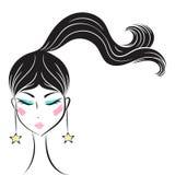 Face glamorous girl cartoon Stock Photo