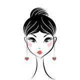 Face glamorous girl cartoon Royalty Free Stock Photography
