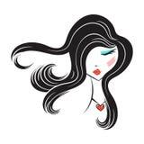 Face glamorous girl cartoon Royalty Free Stock Photo