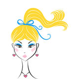 Face glamorous girl cartoon Stock Images