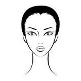 Face glamorous girl cartoon Stock Photos