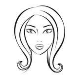 Face glamorous girl cartoon Royalty Free Stock Image