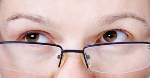 Face with glasses close up. Eyes aside Royalty Free Stock Image