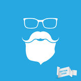 Face with glasses, mustaches and beard Royalty Free Stock Photography