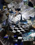 Face of God. Complex surreal painting. God`s face, square elements, text. Spirals of time. Naked man with wings represents angel Stock Photography