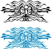 Face god of the seas, Poseidon or Neptun. Vector illustration Royalty Free Stock Image
