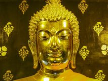 Face gold buddha. In Thailand Stock Photography