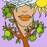 Face and green apple tree Stock Images