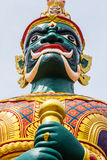 Face of Green Demon Guardian at Thai Temple in Malaysia Royalty Free Stock Photo