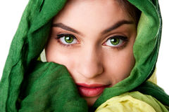 Face with green eyes and scarf Royalty Free Stock Photos