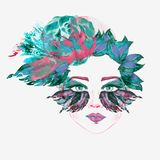 Face with green fairy eyes with makeup, turquoise and pink butterfly wings shape eyeshadows look like mask, floral abstract hair. Style, hand painted watercolor Stock Images