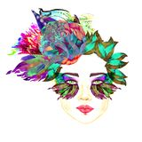 Face with green fairy eyes with makeup, turquoise, purple butterfly wings shape eyeshadows, floral abstract hairstyle. Face with green fairy eyes with makeup vector illustration