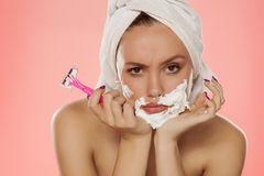 Face hair removal Royalty Free Stock Images