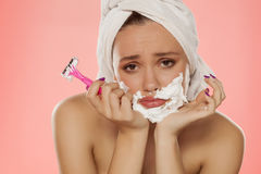 Face hair removal Stock Photos