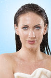 Face and hair wet Stock Photo