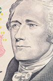 The face of Hamilton the dollar bill macro Royalty Free Stock Images