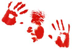 Face and hand print. Isolated on white Stock Photos