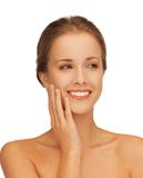 Face and hands of beautiful woman Royalty Free Stock Image