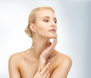 Face and hands of beautiful woman Royalty Free Stock Photos