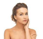 Face and hands of beautiful woman Stock Photography