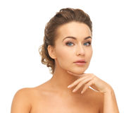 Face and hands of beautiful woman Royalty Free Stock Images
