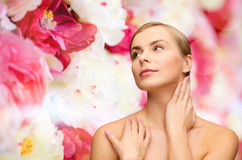 Face and hands of beautiful woman Stock Images