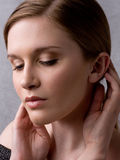Face and Hands of Beautiful Woman Thoughtful Royalty Free Stock Photo
