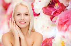 Face and hands of happy woman Royalty Free Stock Photos