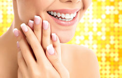 Face, hands and healthy white teeth of a woman Royalty Free Stock Photos