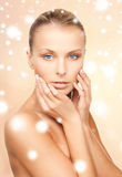 Face, hands and shoulders of beautiful woman Royalty Free Stock Image