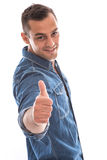 Face of a handsome isolated man with thumbs up. Royalty Free Stock Photography
