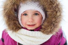 Face of happy little kid or girl in winter clothes Royalty Free Stock Image
