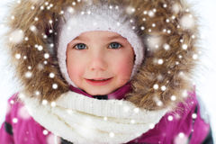 Face of happy little kid or girl in winter clothes Royalty Free Stock Photos