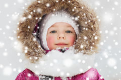 Face of happy little kid or girl in winter clothes Stock Image