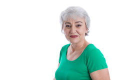 Face of a happy older woman isolated over white. Royalty Free Stock Photo