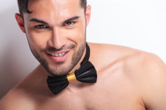 Face of happy topless young man Stock Photography