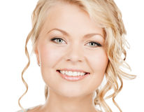 Face of happy woman with long hair Stock Photography
