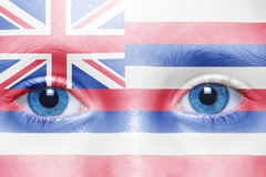 Face with hawaii state flag. Human`s face with hawaii state flag stock photo