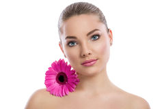 Face of health woman with lily close her face Royalty Free Stock Photos