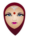 Face of Hinduism Woman. Vector Illustration Of Hinduism Woman Royalty Free Stock Images