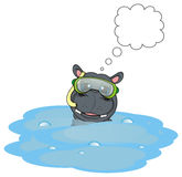 Face of hippo in diving mask and clean call out Royalty Free Stock Photo