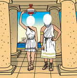Face in a hole. Greece. Illustration of an ancient couple Stock Image