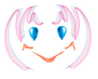 Face holiday. Joyful, vector, simple, baby painted face with blue eyes of cheerful balloons Stock Photos
