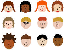 Face icon set. Group of face emotions and diverse people group. Design element illustration - simple heads collection Royalty Free Stock Images