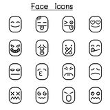 Face icon set in thin line style. Vector illustration graphic design Royalty Free Stock Image