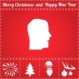 Face Icon Vector. And bonus symbol for New Year - Santa Claus, Christmas Tree, Firework, Balls on deer antlers Stock Image
