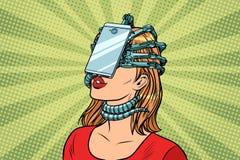 Face id smartphone parasite, woman and Internet addiction. Pop art retro vector vintage illustrations stock illustration