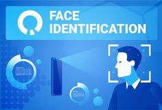 Face Identification Smart Phone Scan Male Face Modern Access Control Technology Recognition System Concept. Vector Illustration Stock Image