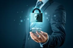 Face identification smart phone unlock. Smart phone face detection and identification ID concept. Padlock with face is metaphor of unlocking tablet via face royalty free stock photos