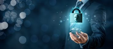 Face identification smart phone unlock. Smart phone face detection and identification ID concept. Padlock with face is metaphor of unlocking tablet via face stock photography
